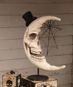 Lovely, would make a great ceramics project!  2013 Haunted Skeleton Moon at TheHolidayBarn.com