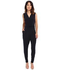 MICHAEL Michael Kors Solid Wrap Pleated Jummpsuit New Navy - Zappos.com Free Shipping BOTH Ways