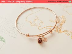 Rose Gold Bracelet Personalized initial bangle by LaLaCrystal