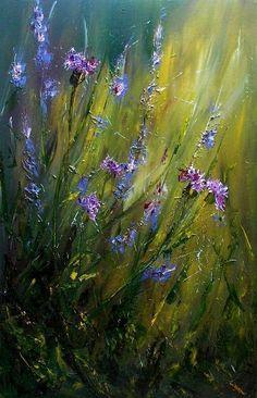 Risultati immagini per pinturas con flores azules gran des Abstract Landscape, Landscape Paintings, Pintura Graffiti, Impressionist Paintings, Fine Art, Acrylic Art, Beautiful Paintings, Flower Art, Watercolor Paintings