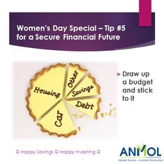 """""""Draw a budget & stick to it!""""  #WomensDay #Tip No. 5 for a secure #Financial #Future :)  www.myanmol.com"""