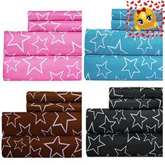 #cool Add a fun flair to your bed with the #star #print sheet set. These super soft sheets are made of microfiber to make their care as easy as possible. The rich...
