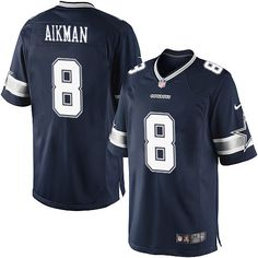 Nike Limited Troy Aikman Navy Blue Men's Jersey - Dallas Cowboys #8 NFL Home