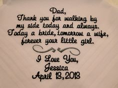 Personalized Father of the Bride from Bride embroidered wedding mens handkerchief thank you present free gift box via Etsy