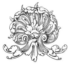 Vintage Ornamental Clip Art - Shell with Scrolls - The Graphics Fairy