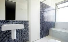 Bathroom is subtly inspired by Chinese blue and white porcelain. Architects Melbourne, Wolf Design, Other Space, Downstairs Bathroom, Melbourne Australia, White Porcelain, Townhouse, Luxury Homes, Bathrooms