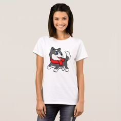 #Cartoon husky puppy with scarf T-Shirt - #siberian #huskie #puppy #huskies #dog #dogs #pet #pets #cute