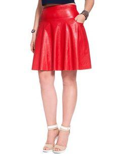 Eloquii Studio Faux Leather Flare Skirt