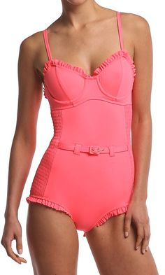 ~ Coral belted one piece ~