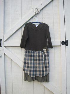 Boho sweater dress Rustic ranch dress plaid by ShabyVintage, $48.77