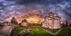 Sunset in Curtea de Arges by Cezar Machidon on Romania, Perfect Place, Places To Visit, Mansions, Sunset, House Styles, Manor Houses, Villas, Mansion