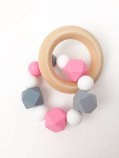 Silicone Teething Rattle Teething Ring Pink by TheTeethingFairy