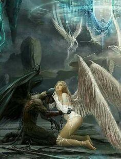 * Angel ♡ Demon, but they love each other and no time will separate them … - Nail Design Ideas! Demon Art, Ange Demon, Gothic Fantasy Art, Fantasy Kunst, Fantasy Artwork, Arte Horror, Horror Art, Angel Warrior, Angel And Devil