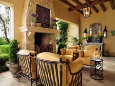 Rustic Italian Tuscan Style for Interior Decorations 55 Mediterranean Living Rooms, Mediterranean Style Homes, Mediterranean Kitchen, Mediterranean Architecture, Mediterranean Recipes, Tuscan Style Homes, Tuscan House, Tuscan Garden, Style Toscan