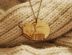 Wooden Fox Necklace by laylaamber on Etsy, £13.00