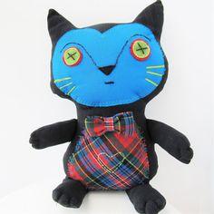Tartan Green Eyes Cat Plushie Bow Tie Vintage Handmade Wool Fabric and Felt Heart Softie Cloth Toy Patchwork Rag Doll