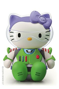 Hello Kitty Lightyear Buzz - To the many people who have written or inquired: Thank you for your (p)interest, but I must tell you that his image is actually a photoshop creation and is NOT an existing toy. I did not create the image, nor do I take credit for it. The image was created by an illustrator and Art Director for a New Zealand based advertising agency. He is in the process of  compiling them into a coffee table book which he hopes to have published. His Hello Kitty images collection…