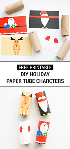 These Free Printable DIY Holiday Paper Tub Characters are one of the easiest ways to get your kids in on the holiday spirit. Place them around your home as homemade festive decor this holiday season. Plus, you'll love how simple this Christmas craft is to make!