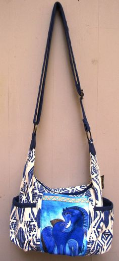 03243744358a Laurel Burch Indigo Mares Teal Blue Horses Cross Body Shoulder Bag Tote  Pockets