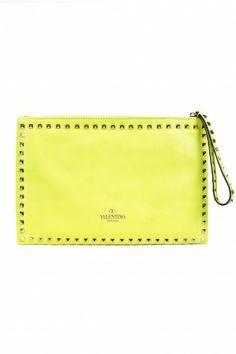 Valentino Rock Star Studded Clutch - Yellow