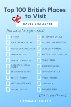 Top 100 British Places to Visit How well travelled are you around the UK? See ho… – Best Europe Destinations Europe Destinations, Bucket List Destinations, Travel Checklist, Travel List, Travel To Uk, Summer Travel, Explore Travel, Bali Travel, Train Travel