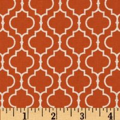44'' Wide Metro Living Tile Orange Fabric By The Yard