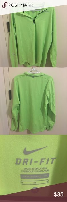 Nike element Dri-Fit jacket Neon green running jacket. Great for running outdoors, warm yet breathable. In perfect condition. Nike Jackets & Coats