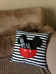 Amazing Home Sewing Crafts Ideas. Incredible Home Sewing Crafts Ideas. Disney Diy, Disney Home Decor, Disney Crafts, Baby Pillows, Throw Pillows, Sewing Crafts, Sewing Projects, Remote Holder, Reading Pillow