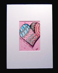 ORIGINAL ACEO Art  Pink Red Glitter 3D Heart Zentangle Matted Valentine Painting #Zentagle3Dart
