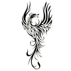 Wonderful Black Tribal Phoenix Tattoos Design