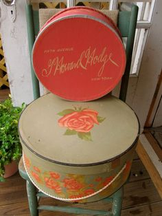 Vintage Hat Boxes With Flowers