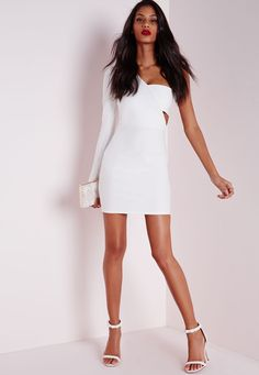 Missguided - Crepe One Shoulder Bodycon Dress White