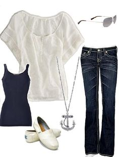 Designed by me, Lynndee!  Daytime Vegas outfit. AE Top, Big Star Jeans, Basic Navy Tank, Toms in Ivory Glitter,  Jimmy Choo Aviators & Anchor Necklace from Forever21.