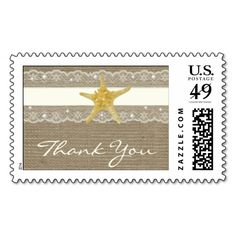 IVORY LACE AND PEARL BURLAP BEACH WEDDING POSTAGE STAMPS