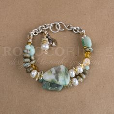 Peruvian Opal & Argentium Silver Two-Strand Bracelet - available from Rococo Riche