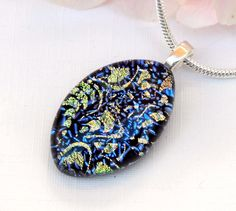 Elegant Blue and Gold Dichroic Glass Necklace - Fused Glass Jewelry - Cobalt Blue Art Glass Oval Pendant by TremoughGlass on Etsy
