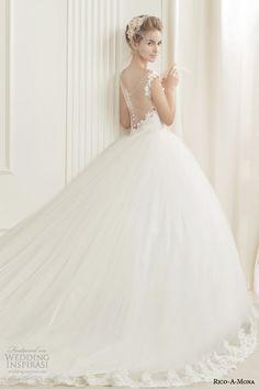 rico a mona demure wedding dress with illusion neckline back view