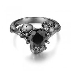 Mysterious Brilliant Cut Black Diamond Rhodium Plated Sterling Silver Three-Skull Designer Engagement Ring - #jeulia - #Coupons - #sale