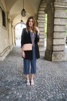 Culotte im Denim-Look aus Leinen-Mix Esprit