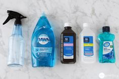 DIY Daily shower spray.  Keep your shower cleaner for longer in between scrubbing! | www.onegoodthingbyjillee.com Daily Shower Cleaner Diy, Shower Cleaning Tips, Dawn Shower Cleaner, Homemade Bathroom Cleaner, Bathtub Cleaning, Daily Shower Spray, Cleaning Spray, Household Cleaning Tips, Household Cleaners