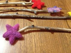 magic wand  Needle felted wool  Natural and by LeJardinDesMesanges