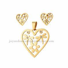 juego de dije y aretes de corazon de dorado en acero-SSSTG1073809