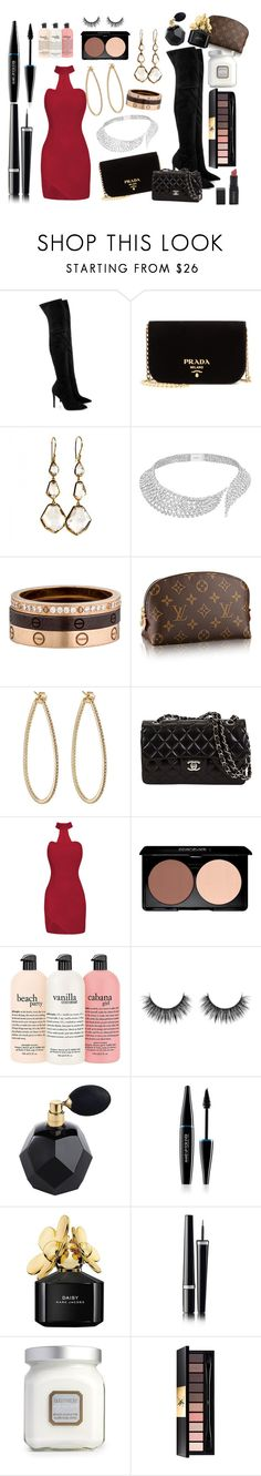 """Untitled #1808"" by bucketlistdiary on Polyvore featuring Kendall + Kylie, Prada, Ippolita, Messika, Cartier, Sidney Garber, MAKE UP FOR EVER, Marc Jacobs, Chanel and Laura Mercier"