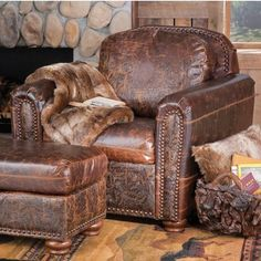 Superior Furniture   Distressed Leather Chair And Ottoman