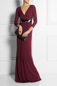 Gucci gown, Chloé earrings, ring and ring, Gianvito Rossi shoes, Maiyet clutch.