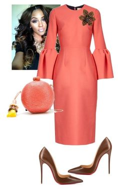 A fashion look from December 2016 by cogic-fashion featuring Roksanda, Christian Louboutin, Serpui and Fantasy Jewelry Box Dress Outfits, Fashion Dresses, Dress Up, Cute Outfits, Modest Fashion, Church Attire, Church Outfits, Church Dresses, Cute Dresses