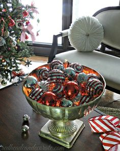 Fill a bowl with white lights and bulbs.  Easy and so cute! | redheadcandecorate.com