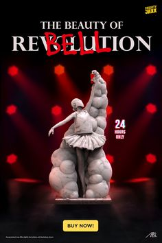 Set to challenge the notion of beauty in today's society, the ballerina is all geared up with a vest and mask, holding a smoke grenade, and twirling and dancing in the midst of a rebellion. Drawing inspiration from classic Greek sculptures, The Beauty of Rebellion features a smooth marble-like effect. Highlighted with a red accent is the spray can, a representation of the desire to break free from the beauty conventions we all know.