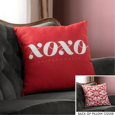 XOXO in Red Throw Pillow Cover