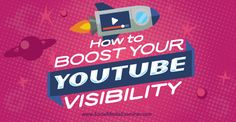 Learn how to boost your visibility. Optimise your Channel and your videos. Marketing Software, Social Marketing, Marketing Tools, Internet Marketing, Online Marketing, Marketing Ideas, Media Marketing, Digital Marketing, Youtube Advertising